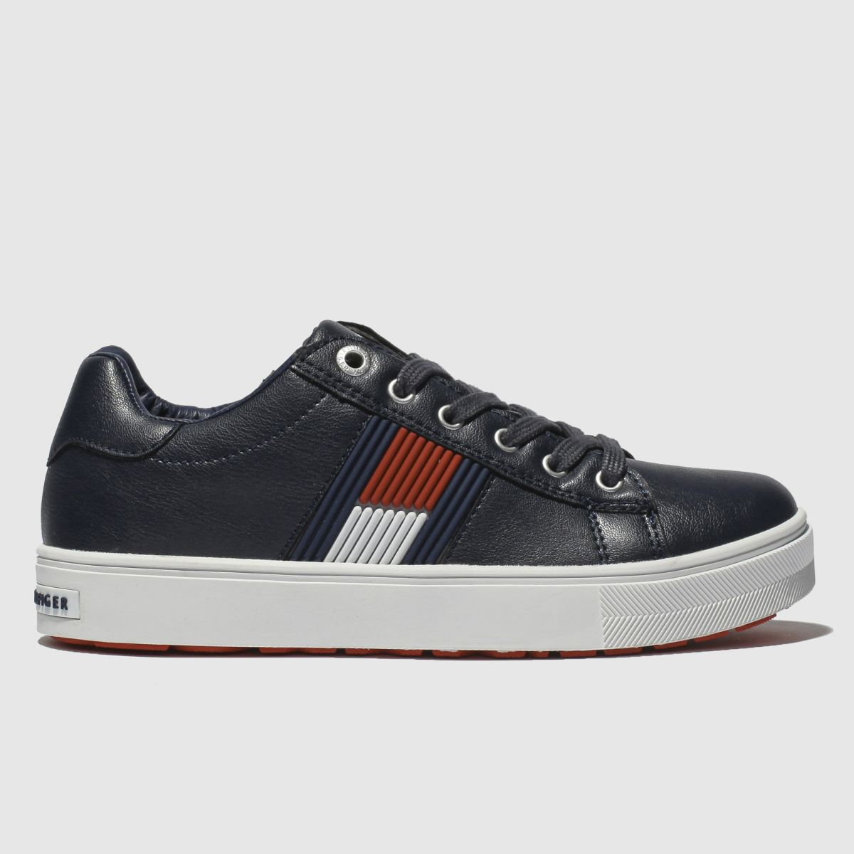Tommy Hilfiger Navy & White Flag Lace Up Sneaker Trainers Junior