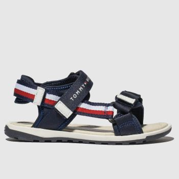 tommy hilfiger navy & white velcro sandal sandals junior