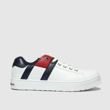 Tommy Hilfiger White & Navy Lace Up Sneaker Boys Junior