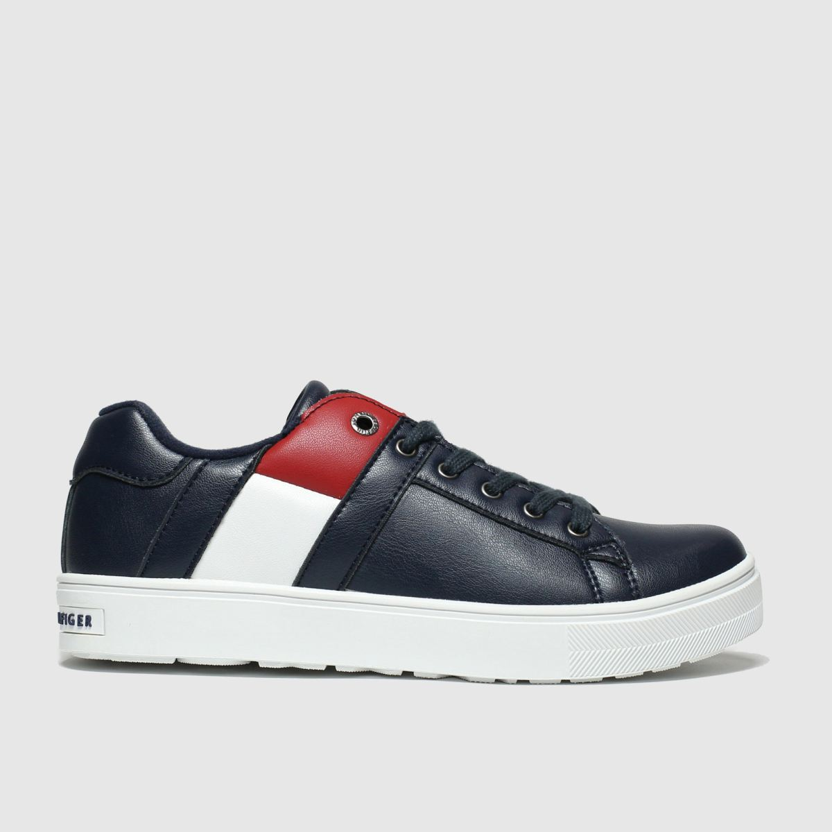Tommy Hilfiger Navy & Red Lace Up Sneaker Trainers Junior
