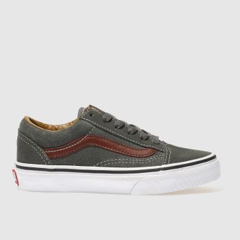 VANS DARK GREY OLD SKOOL BOYS JUNIOR TRAINERS