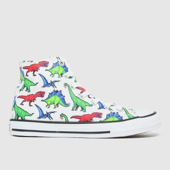 Converse White & Green Hi Dino Boys Junior