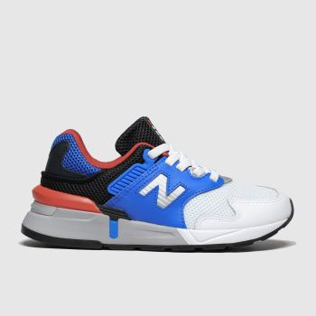 new balance white & blue 997 trainers junior