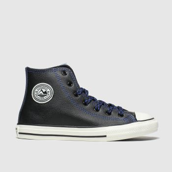 Converse Black and blue All Star Tumbled Leather Boys Junior