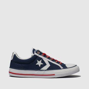 Converse Navy & White Star Player Ev Lo Boys Junior