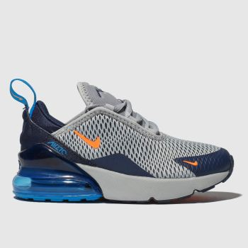 best service 69b67 356c2 Nike Navy   Grey Air Max 270 Boys Junior