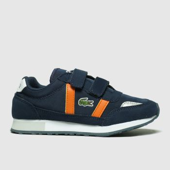 lacoste navy & orange partner trainers junior