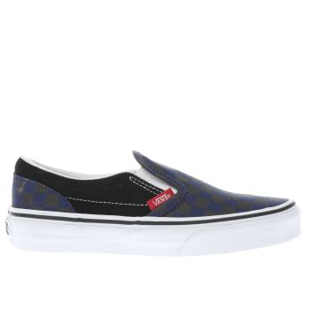 VANS BLACK AND BLUE SLIP ON CHECKERBOARD BOYS JUNIOR TRAINERS