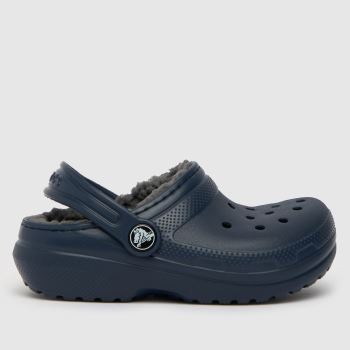 crocs Navy & Grey Classic Lined Clog Boys Junior
