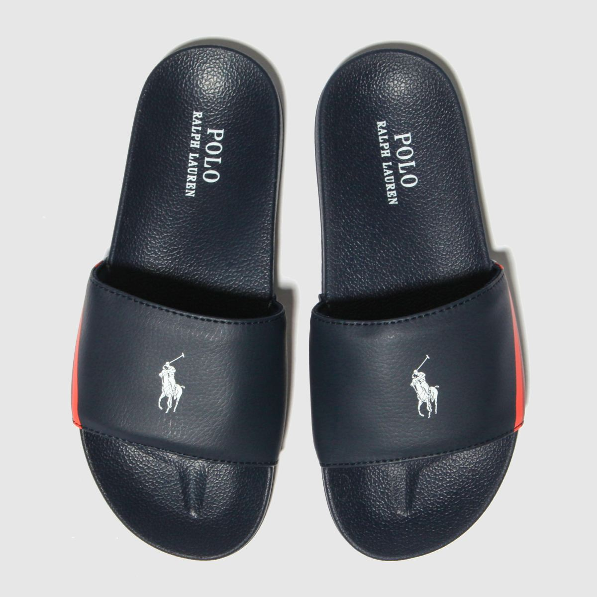 Polo Ralph Lauren Navy & Red Flecther Slide Sandals Junior