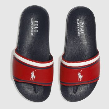 Polo Ralph Lauren Navy & Red QUILTON SLIDE Boys Junior