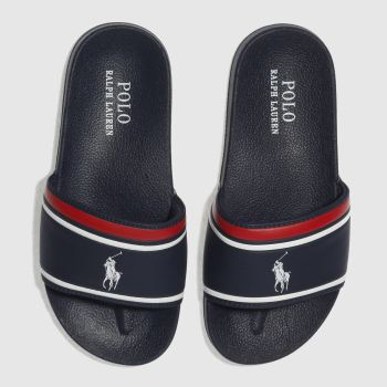 Polo Ralph Lauren Navy & White QUILTON SLIDE Boys Junior