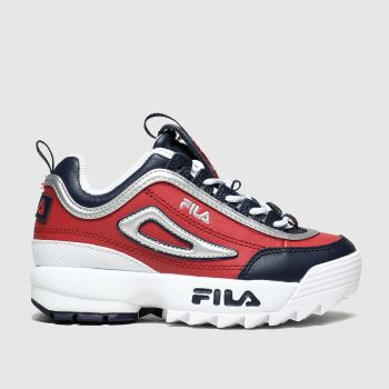 fila navy & red disruptor trainers junior