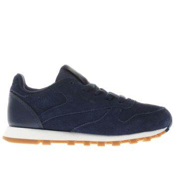 REEBOK NAVY CLASSIC LEATHER BOYS JUNIOR TRAINERS