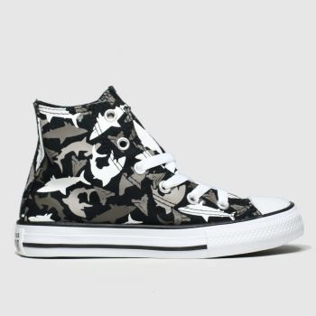 Converse Black & Grey Hi Shark Bite Boys Junior