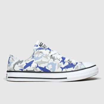 Converse Grey & Navy Lo Shark Bite Boys Junior
