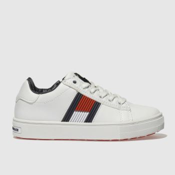 TOMMY HILFIGER WHITE & NAVY THE ESSENTIAL LACE UP TRAINERS JUNIOR