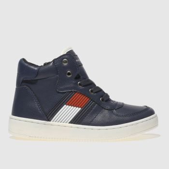 Tommy Hilfiger Navy & Red High Top Lace Up Sneaker Boys Junior