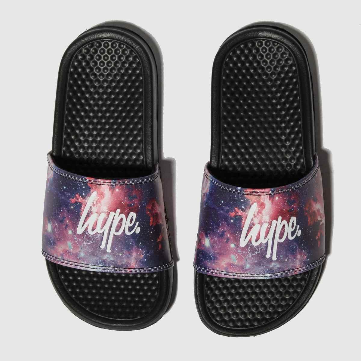 Hype Black & Purple Fired Up Sliders Sandals Junior