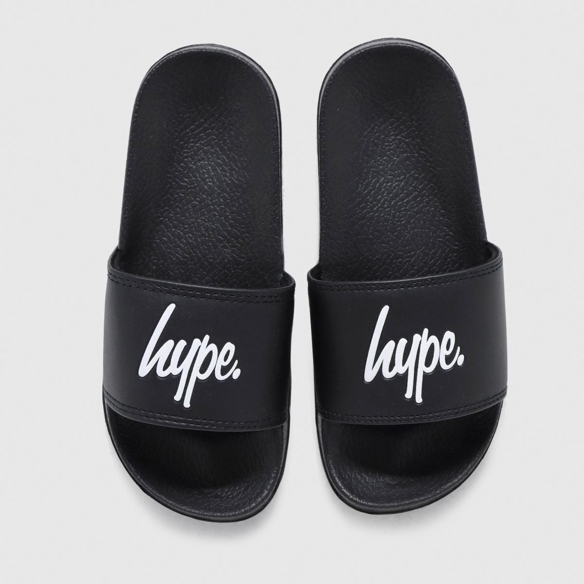 Hype Black & White Black Script Sliders Junior
