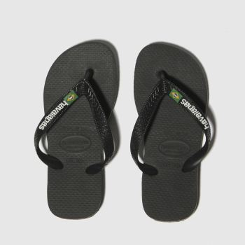 havaianas Black Brasil Logo Boys Junior