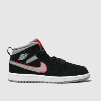 Nike Jordan Black & Grey Jordan 1 Mid Boys Junior