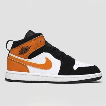 Nike Jordan Black & Orange Jordan 1 Mid Boys Junior