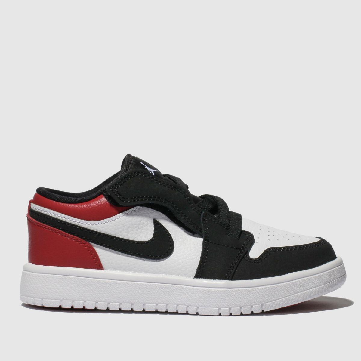 newest abdce 9f1cb Nike Jordan White   Red Jordan 1 Low Trainers Junior. Schuh
