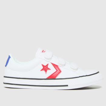 Converse White & Red Star Player 3v Lo Boys Junior