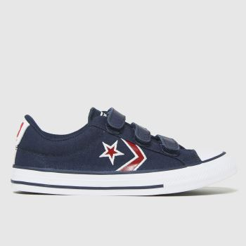 Converse Navy & Red Star Player 3v Lo Boys Junior