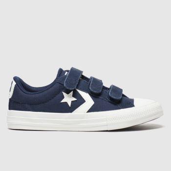 Converse Navy & White Star Player 3v Lo c2namevalue::Boys Junior