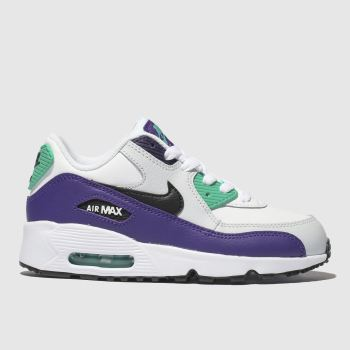 NIKE WHITE & PURPLE AIR MAX 90 MESH TRAINERS JUNIOR
