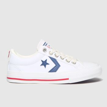 Converse White & Navy Star Player Ev Lo Boys Junior