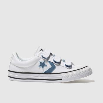 Converse White & Blue STAR PLAYER OX Boys Junior
