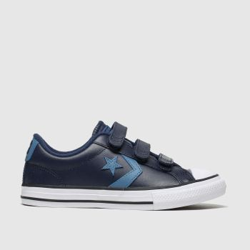 Converse navy & pl blue star player 3v lo trainers junior