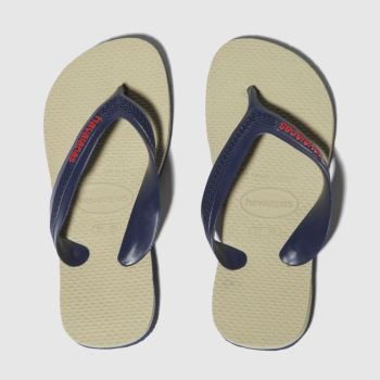 havaianas beige & navy kids max sandals junior