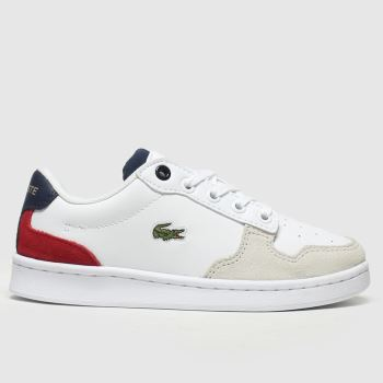 lacoste white & red masters cup trainers junior