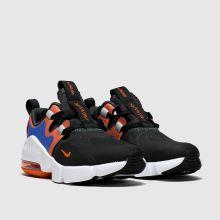 nike black & orange air max infinity trainers junior
