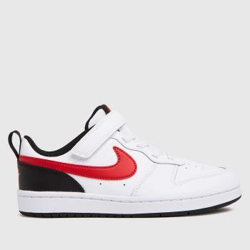 Nike White & Red Court Borough Low 2 Boys Junior
