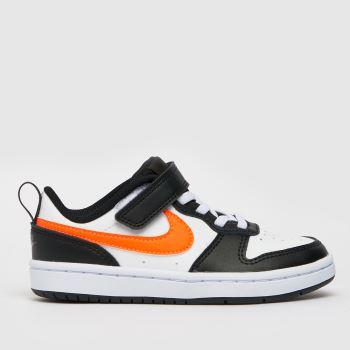 Nike White & Orange Court Borough Low 2 Boys Junior