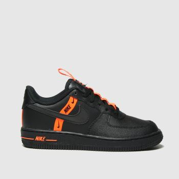 Nike Black & Orange Air Force 1 Lv8 Ksa Boys Junior
