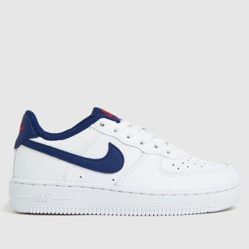 Nike White & Navy Air Force 1 Boys Junior