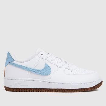 Nike White & Pl Blue Air Force 1 Lv8 Boys Junior