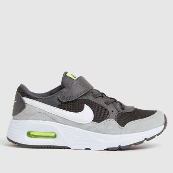 Nike grey & lime air max sc trainers junior