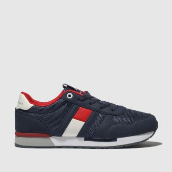 Tommy Hilfiger Navy & Red Flag Lace Up Sneaker Boys Junior