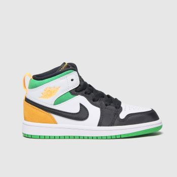 Nike Jordan White & Orange Nike Air Jordan 1 Mid Se Boys Junior#