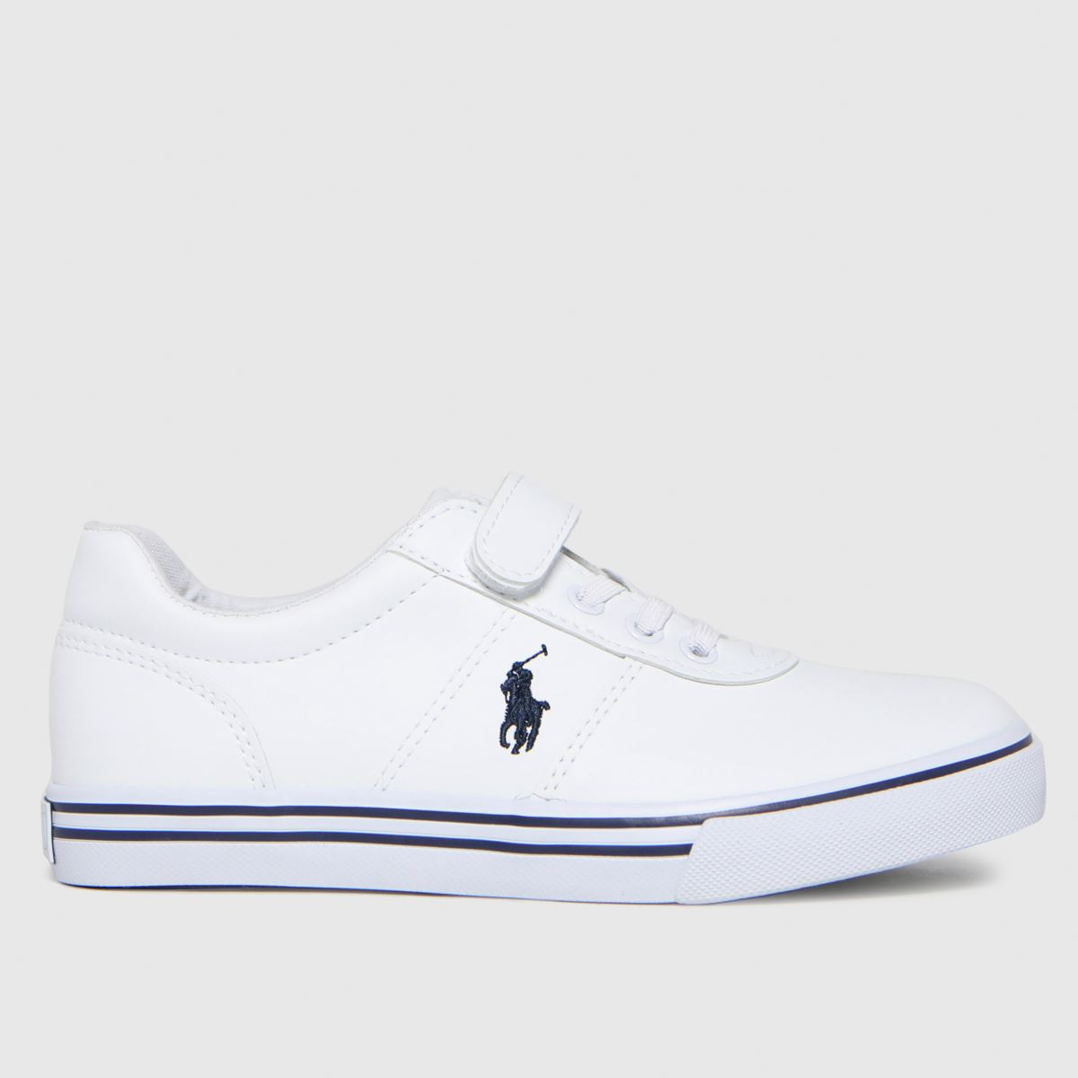 Polo Ralph Lauren White & Navy Hanford Ii Ps Trainers Junior