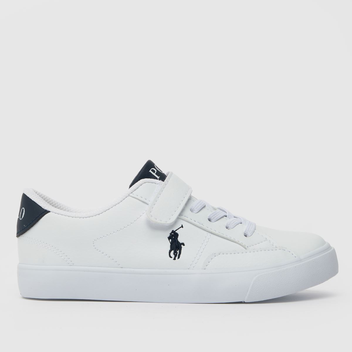 Polo Ralph Lauren White & Navy Theron Iv Ps Trainers Junior