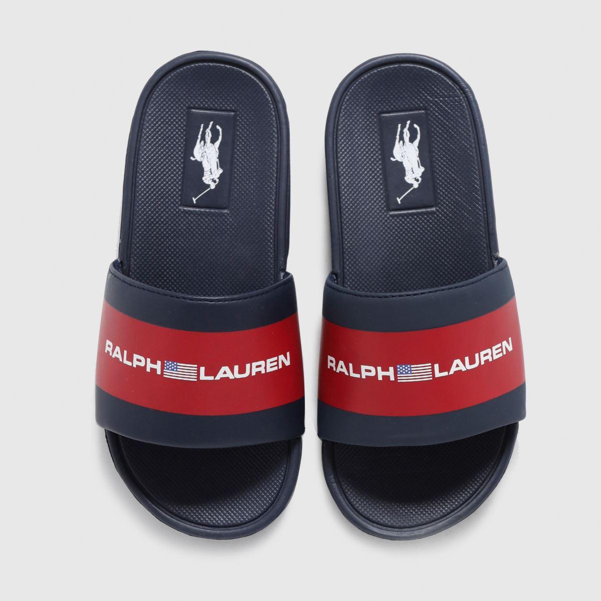 Polo Ralph Lauren Navy & Red Bensley Iii Sliders Junior