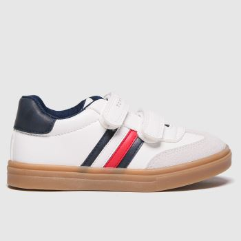 Tommy Hilfiger White & Blue Low Cut Velcro Sneaker Boys Junior#
